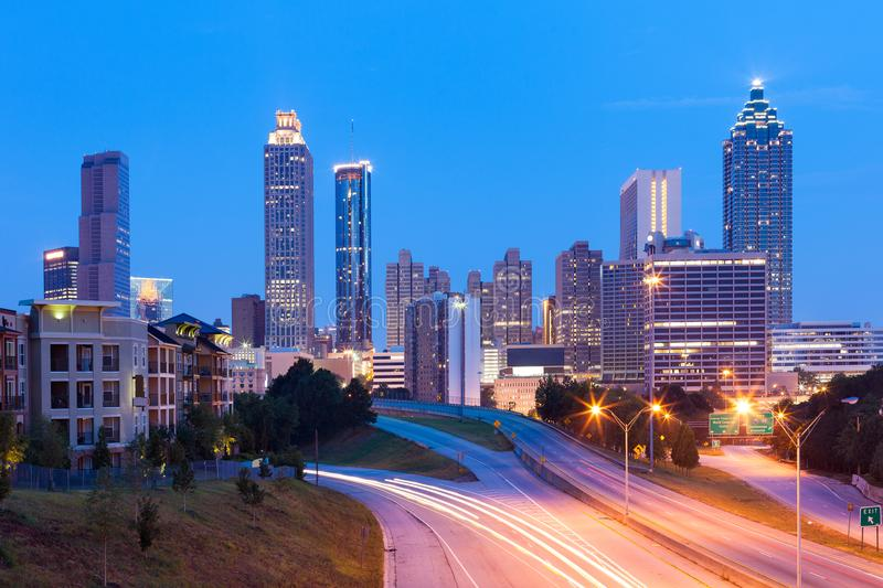 Downtown skyline of Atlanta at dawn royalty free stock photography