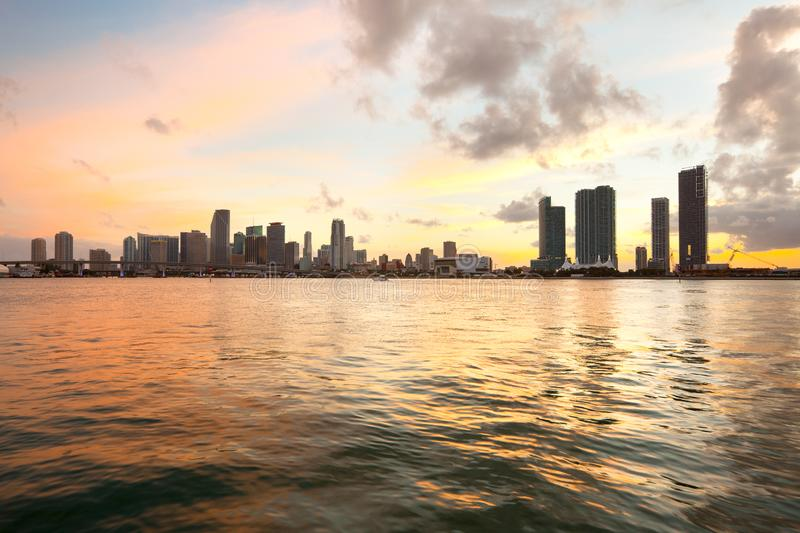 Downtown skyline at dusk of Miami stock images
