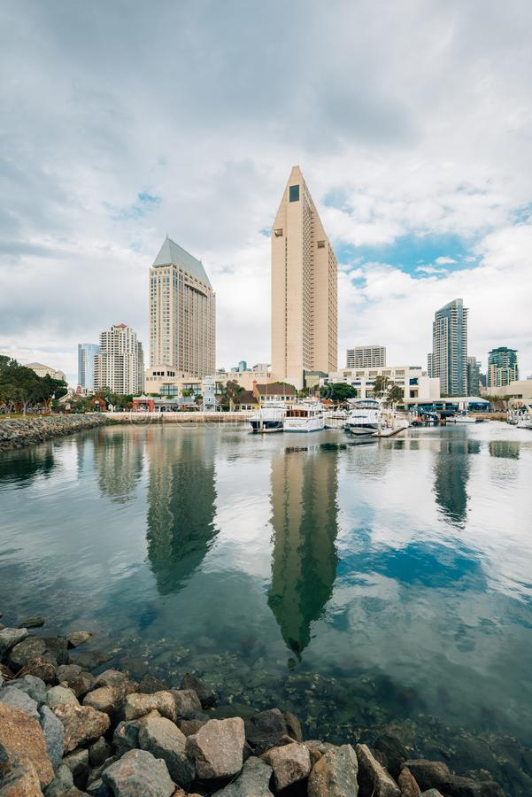 The downtown skyline and a marina at the Embarcadero in San Diego, California stock images