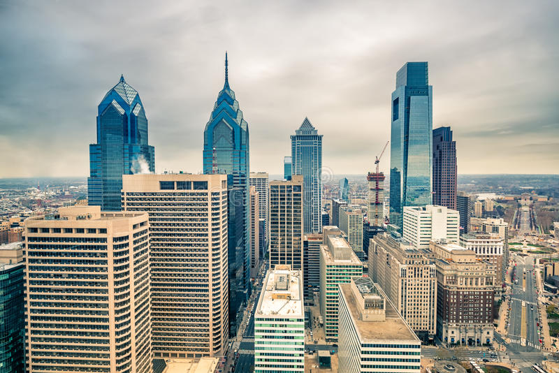 Downtown skyline of Philadelphia USA stock photo