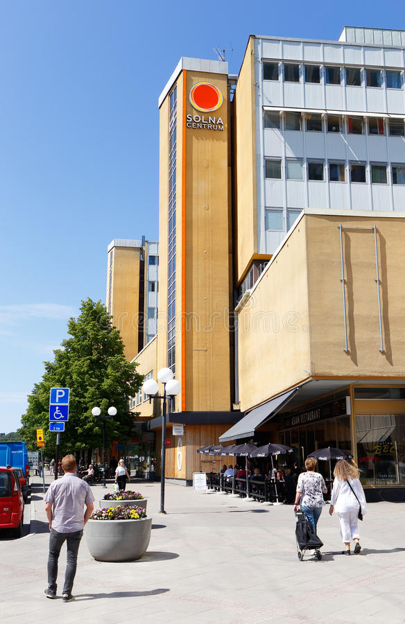 Downtown Solna. Solna, Sweden - June 3, 2016: Exterior of the Solna shopping mall with people walking outside stock photo