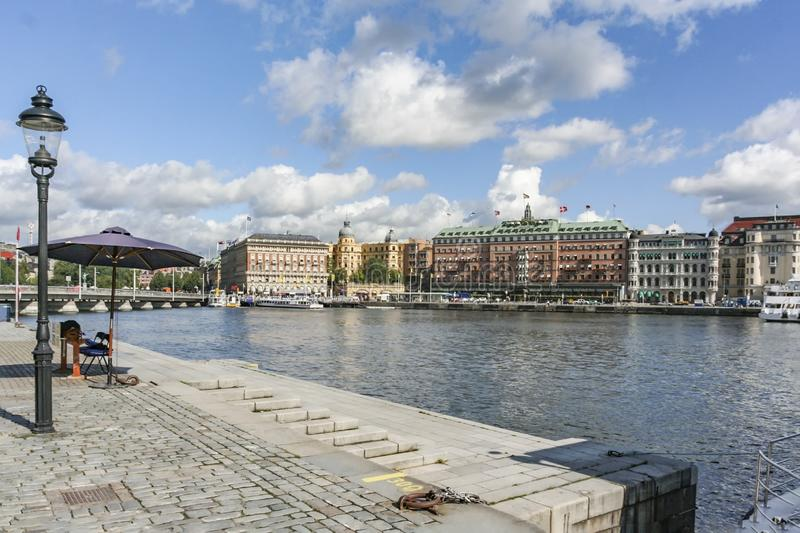 Downtown Stockholm  harbor with old historic facades. Sweden stock images