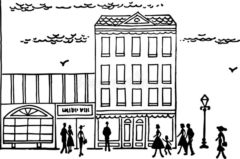 Downtown Street Scene. People walking down a main street shopping area royalty free illustration