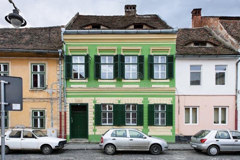 Downtown street in Sibiu stock photo