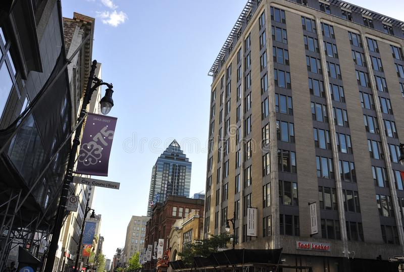 Montreal, 27th June: Downtown Street view of Sainte Catherine from Montreal in Quebec Province stock photography