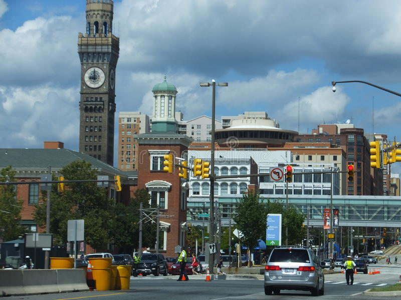 Downtown streets of Baltimore, Maryland royalty free stock image