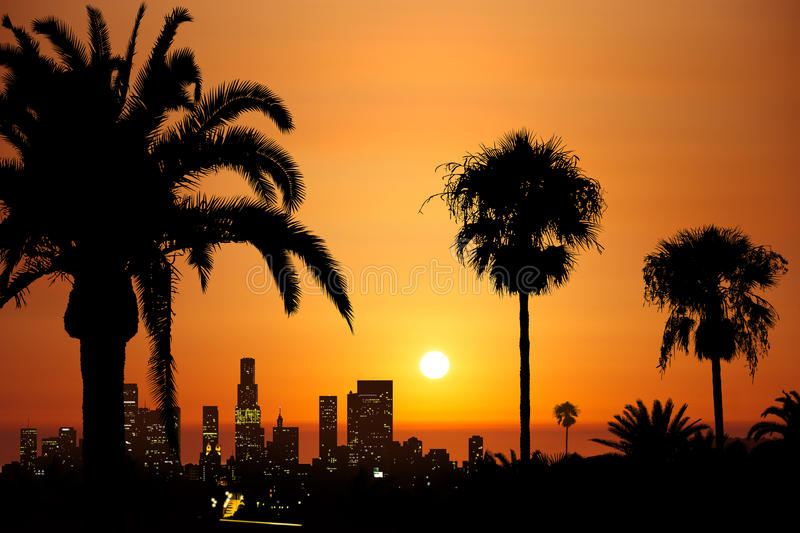 Downtown sundown. Illustration of a sundown over downtown Los Angeles, Southern California stock illustration