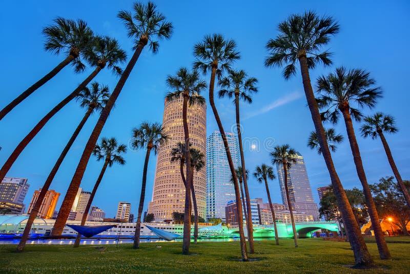 Downtown Tampa mit Riverwalk bei Nacht, von der Universität Tampa stockfoto