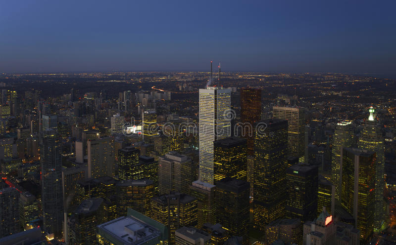 Downtown Toronto. Aerial view of downtown Toronto at night stock photos