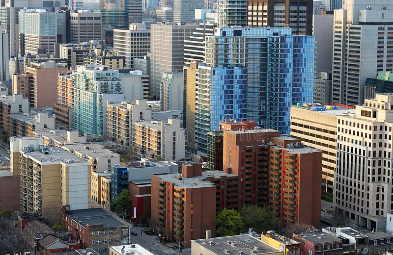 Downtown Toronto financial district buildings close up. Aerial view of downtown Toronto financial district royalty free stock image
