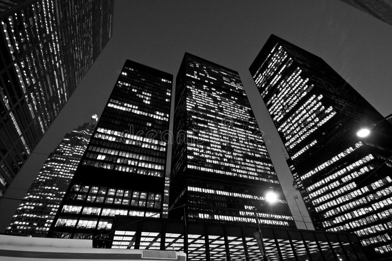 Downtown Toronto at night stock photo