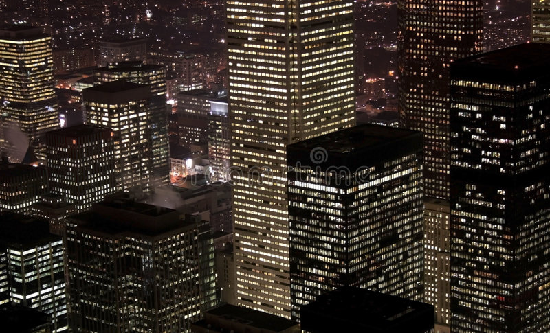 Downtown Toronto Night scene. High rise buildings in Toronto downtown night scene stock photo