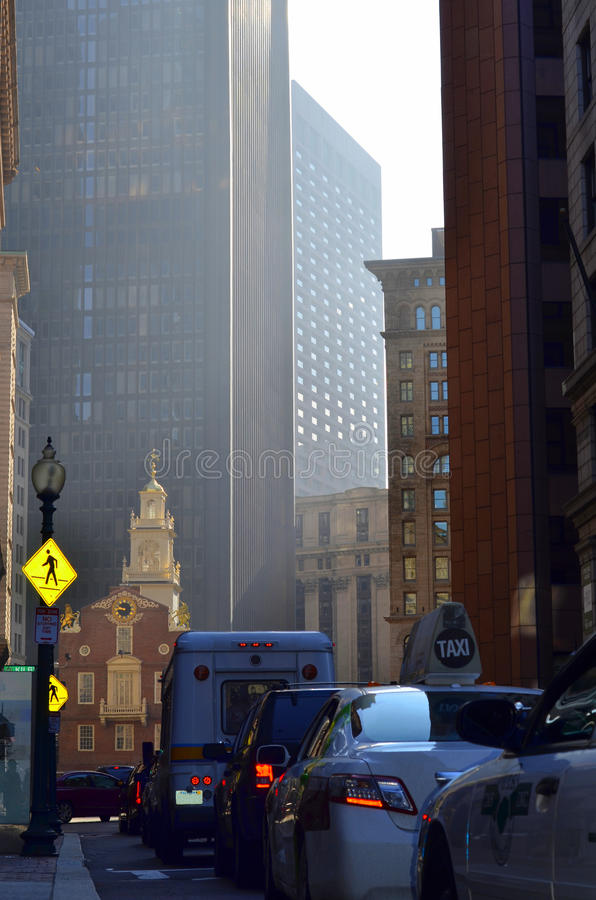 Downtown Traffic. Busy Downtown Traffic And Tall Skyscrapers In Boston USA royalty free stock photo