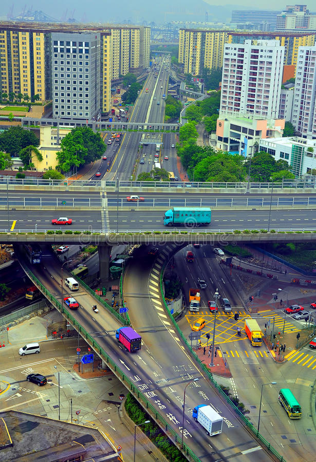 Downtown freeway traffic in hong kong stock images