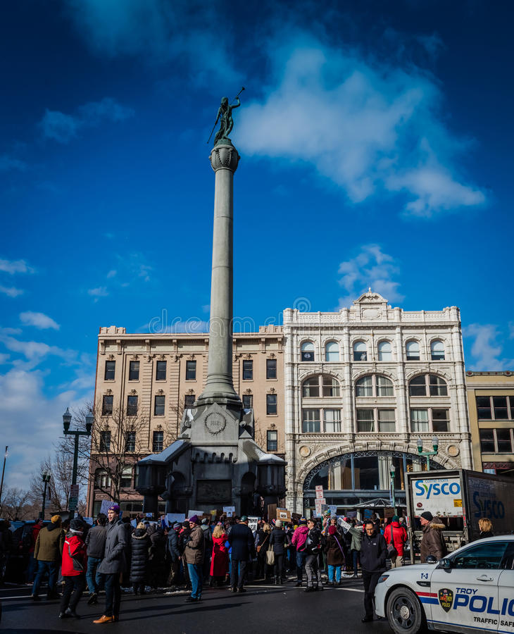 Downtown Troy Student Protest royalty free stock photos