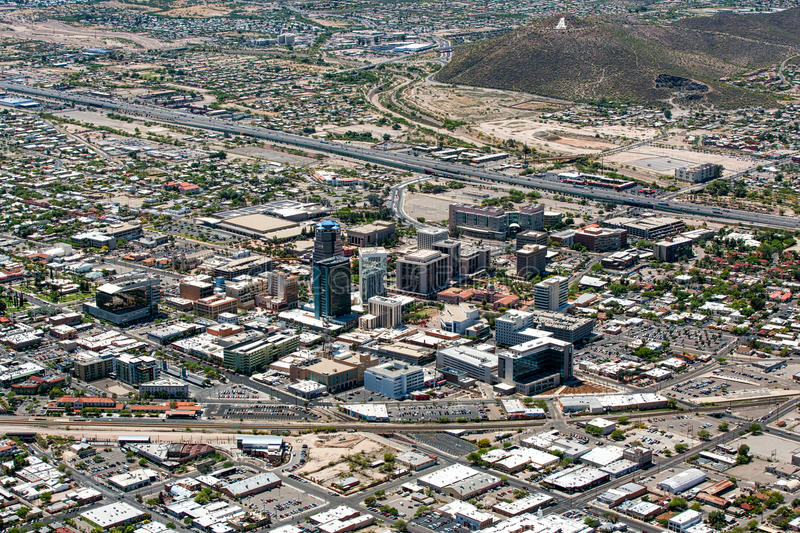 Downtown Tucson. Arizona aerial view including 'A' Mountain royalty free stock images
