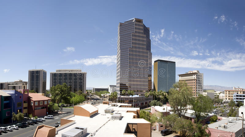 Downtown Tucson Arizona Panorama. Panorama of central downtown Tucson, Arizona, during a bright summer weekend afternoon royalty free stock photos