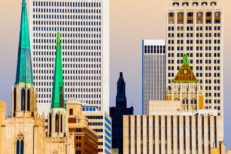 Downtown Tulsa über den Dächern - Nähe mit vielen verschiedenen Gebäudearten gegen intensive blaue Himmelsbilder stock abbildung