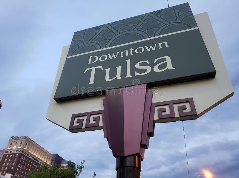 Downtown Tulsa sign and modern buildings, Oklahoma state USA. Downtown Tulsa sign and modern buildings at night, Oklahoma state USA stock photography