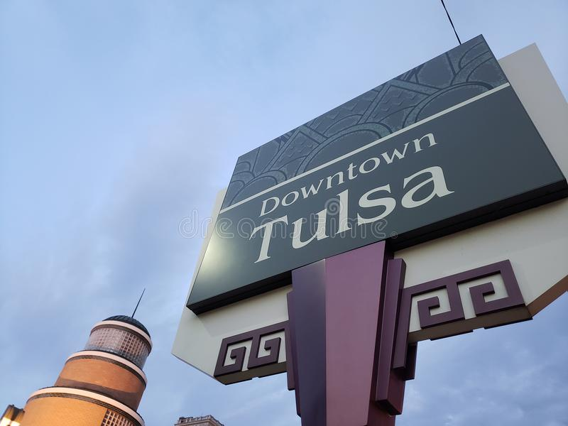 Downtown Tulsa sign ,Oklahoma USA. Downtown Tulsa sign on sunset , Oklahoma USA royalty free stock photos