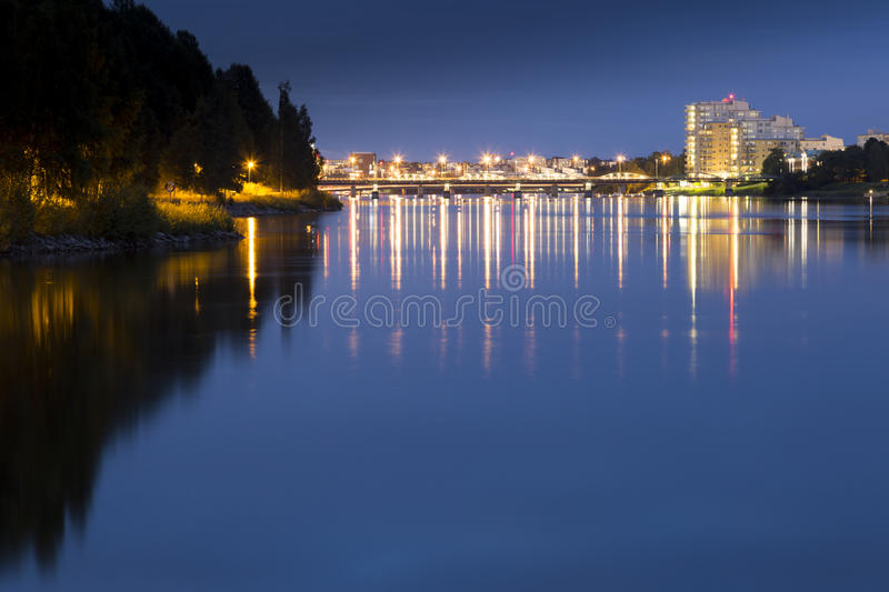 Downtown Umeå, Sweden at Night. Overlooking the river stock photos