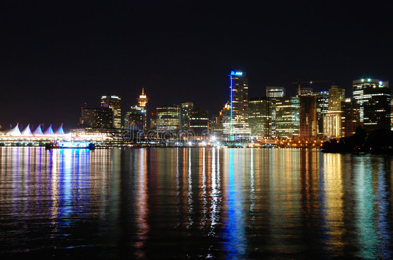 Downtown Vancouver at night royalty free stock photography