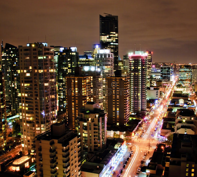 Downtown Vancouver Night stock images