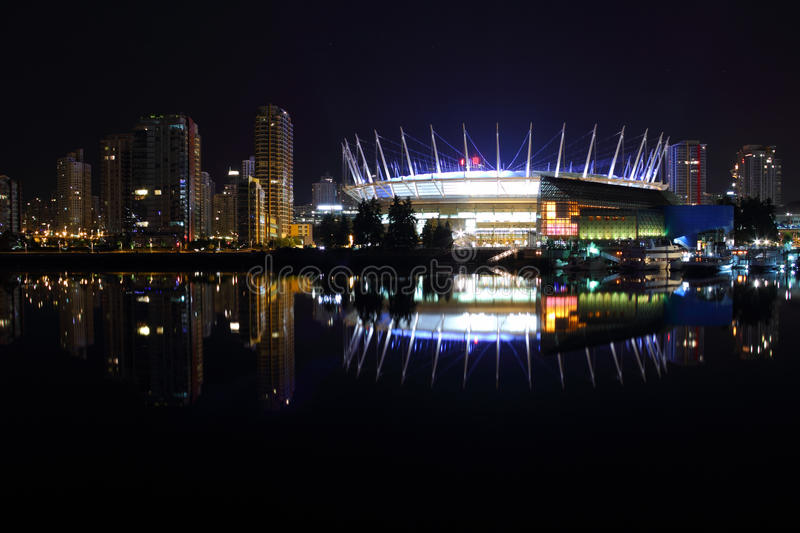 Downtown Vancouver Night Reflections, False Creek royalty free stock photography