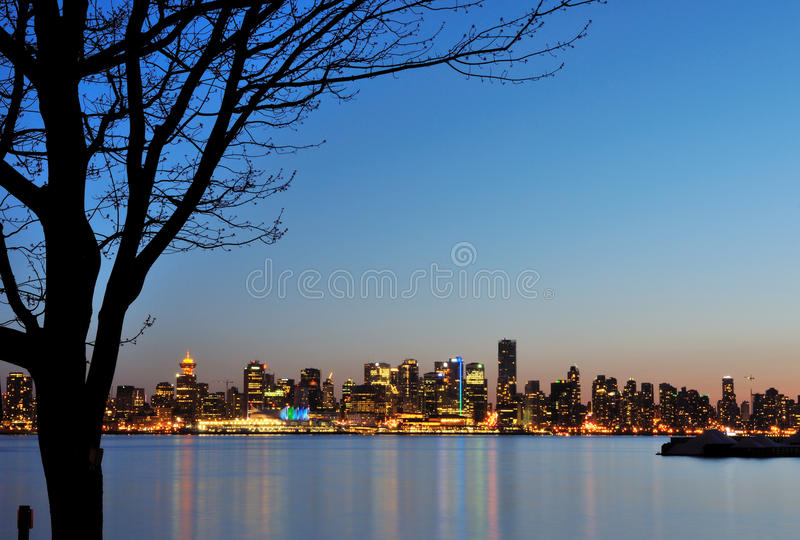 Downtown Vancouver Night Scene royalty free stock images