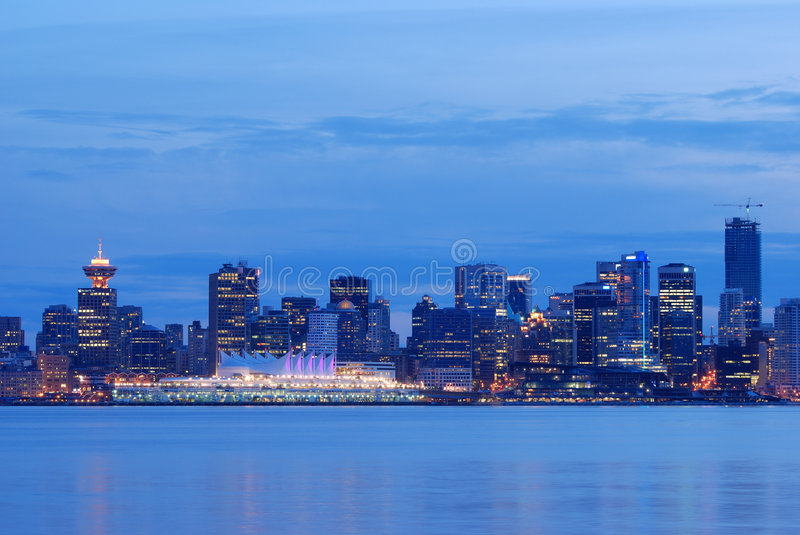 Downtown vancouver night scene stock image