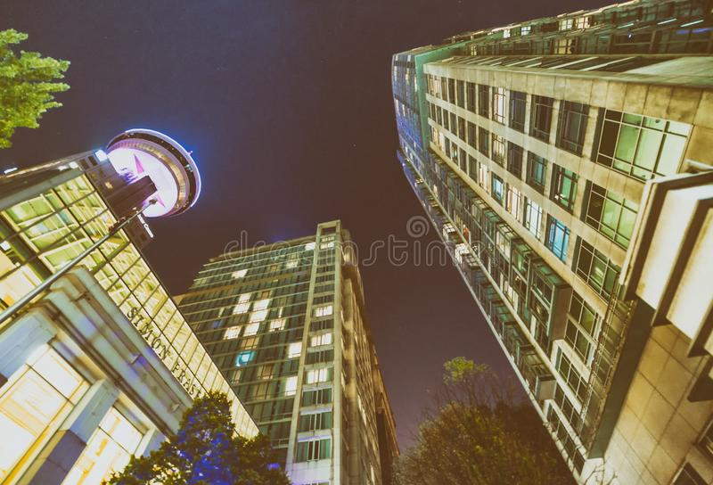 Downtown Vancouver at night, skyward view - Canada royalty free stock photography