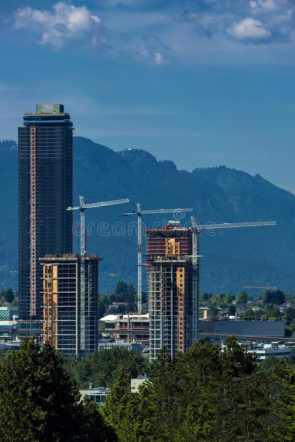 The downtown Vancouver skyline at night. From North Vancouver. Canada Place and Tower Illuminated with Christmas stile royalty free stock images