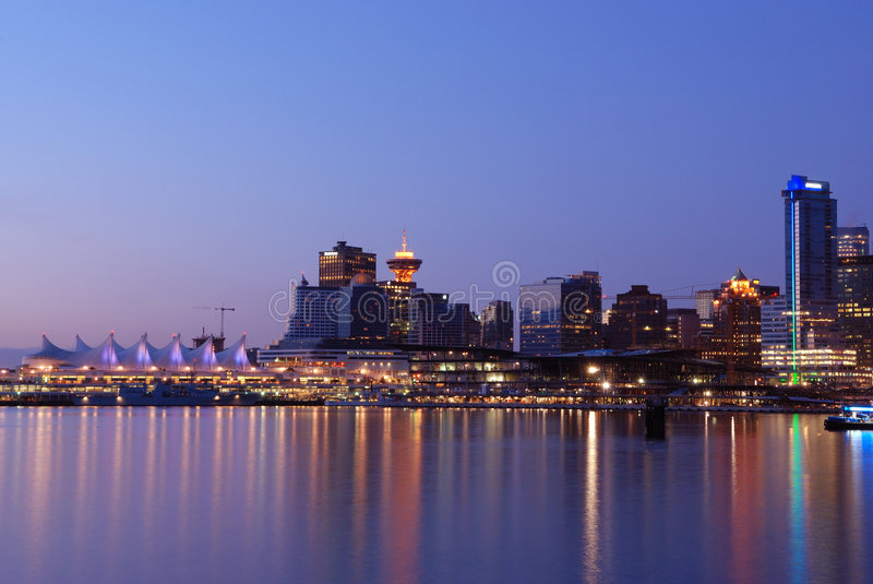 Downtown Vancouver before sunrise stock images