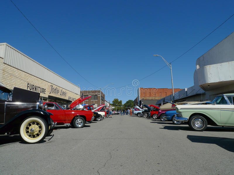 Downtown view of car show royalty free stock photos
