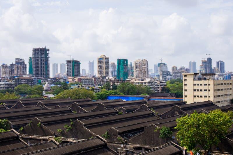 Downtown view of India`s economic city Mumbai from top of a building. Mumbai is metro busiest city in India. Downtown view of India`s economic city Mumbai from royalty free stock photos