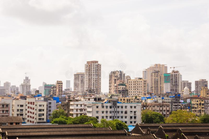 Downtown view of India`s economic city Mumbai from top of a building. Mumbai is metro busiest city in India. Downtown view of India`s economic city Mumbai from stock image