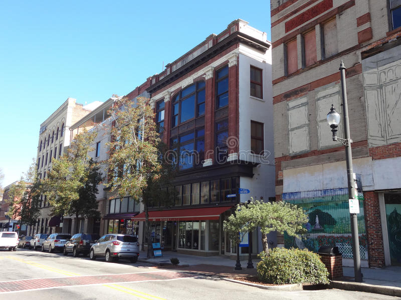 Downtown Wilmington, NC. Businesses line the street in the downtown area of Wilmington, North Carolina stock photography