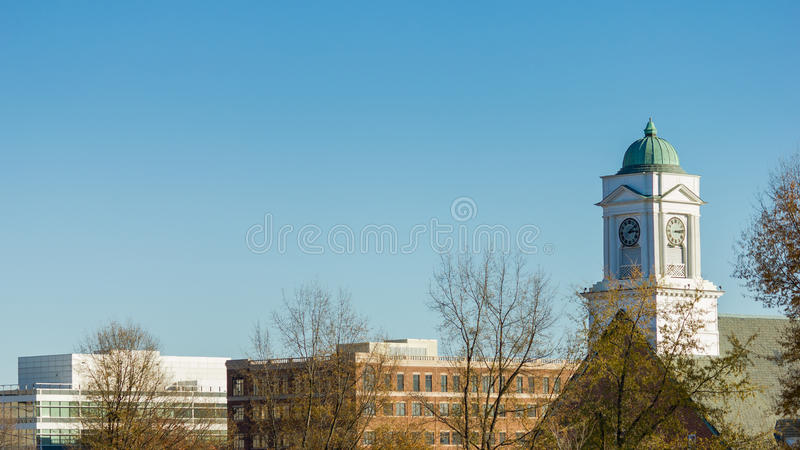 Downtown Winston-Salem. Calvary Moravian Church with Century Plaza and The Park Building in downtown Winston-Salem, North Carolina stock photography