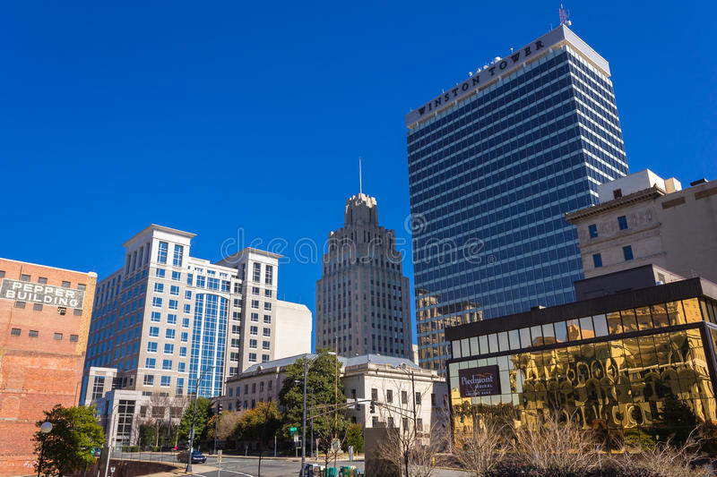 Downtown Winston-Salem. North Carolina in early spring royalty free stock photo