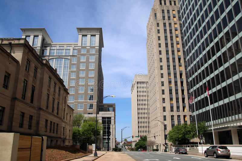 Downtown Winston-Salem in North Carolina. Looking towards downtown Winston-Salem, North Carolina stock photography