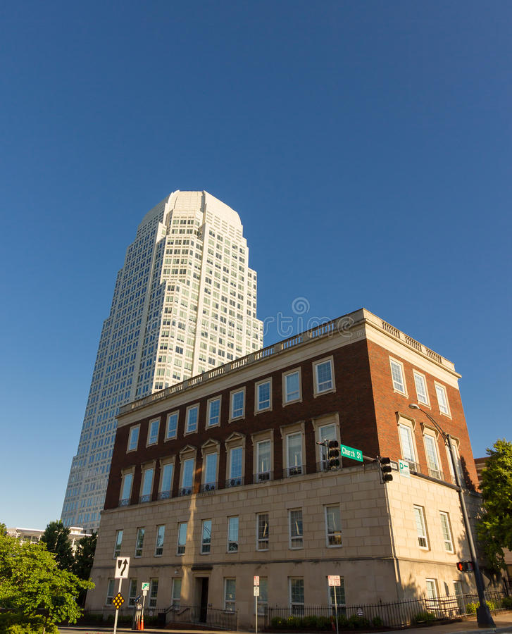 Downtown Winston-Salem. From Piedmont Triad Research Park stock photography