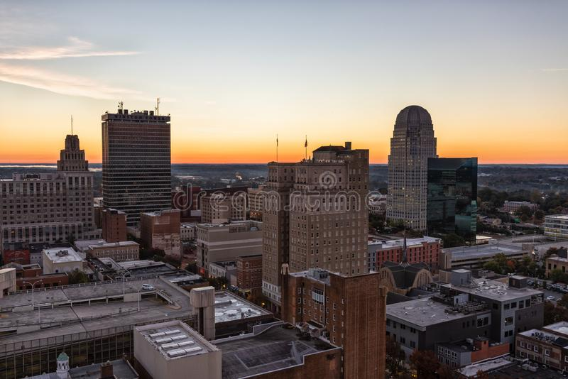 Downtown Winston-Salem at Sunrise. WINSTON-SALEM, NC, USA - OCTOBER 23, 2018: Downtown Winston-Salem at Sunrise on October, 23, 2018 in Winston-Salem, North stock photos