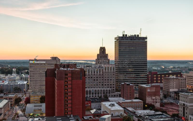 Downtown Winston-Salem at Sunrise. WINSTON-SALEM, NC, USA - OCTOBER 30, 2018: Downtown Winston-Salem at Sunrise on October, 30, 2018 in Winston-Salem, North stock photos