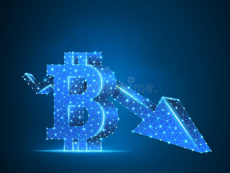 Downtrend arrow Bitcoin chart 3d. Vector polygonal neon cryptocurrency Low poly business, crisis, cash, finance concept. Downtrend arrow Bitcoin chart wireframe royalty free illustration