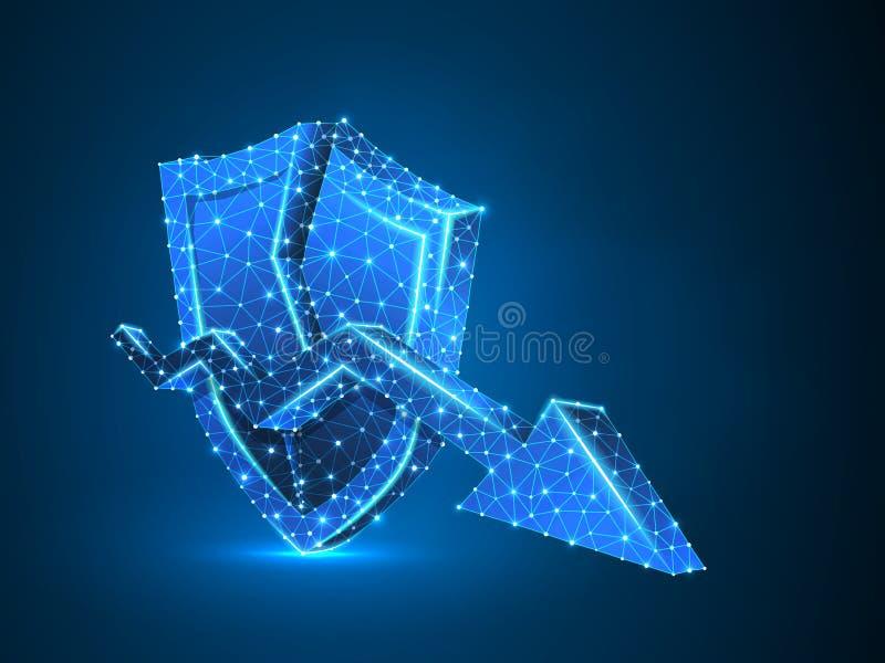 Downtrend arrow on broken shield abstract neon 3d Polygonal Vector neon business market crash. Low poly wireframe. Downtrend arrow on broken Security shield vector illustration