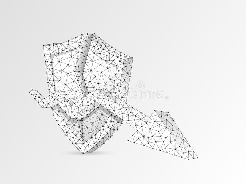 Downtrend arrow on broken shield abstract neon 3d Polygonal Vector origami business market crash. Low poly wireframe. Downtrend arrow on broken Security shield royalty free illustration