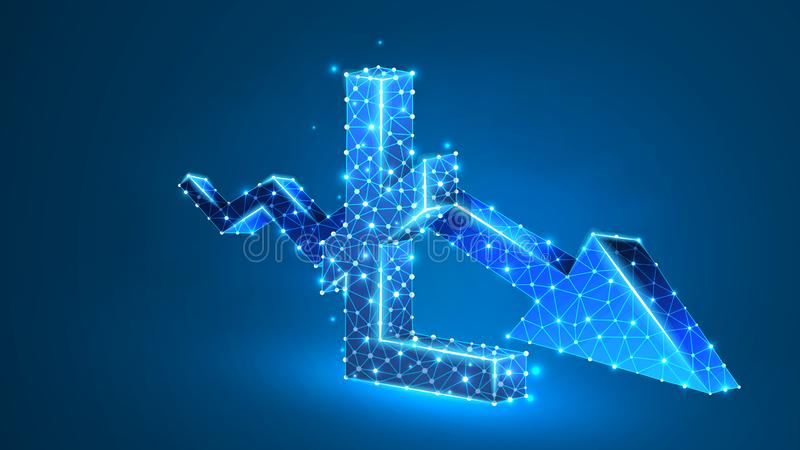 Downtrend arrow Litecoin cryptocurrency chart. Business, data cash crisis, digital finance concept. Abstract, digital. Wireframe low poly mesh vector blue neon royalty free illustration