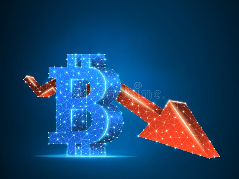 Downtrend red arrow Bitcoin chart 3d Vector polygonal cryptocurrency Low poly business, crash, cash, finance concept. Downtrend arrow Bitcoin chart wireframe royalty free illustration