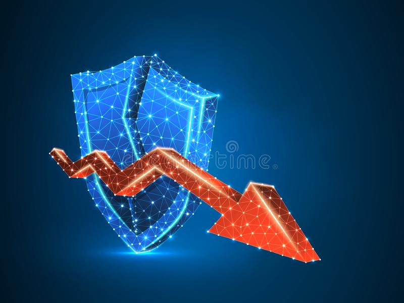 Downtrend red arrow on broken shield abstract neon 3d Polygonal Vector colorful business market crash Low poly wireframe. Downtrend arrow on broken Security royalty free illustration