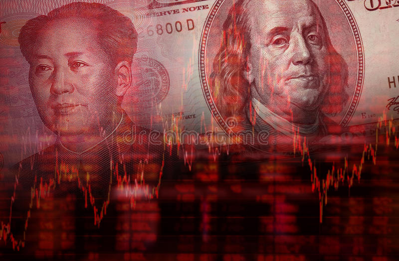 Downtrend stock diagram with money. Downtrend stock diagram, Face of Mao Zedong on RMB (Yuan) 100 bill, With Face of Benjamin Franklin from one hundred dollars vector illustration